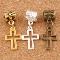 Wholesale Bronze Cross Jewelry - Hollow Cross Charm Big Hole Beads 150pcs lot 27.8x10.5mm Silver Gold Bronze Plated Fit European Bracelets Jewelry Findings DIY B422