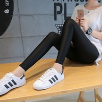 Wholesale Black Shiny Nylon Leggings - Wholesale- Women Fashion Autumn Sporting Legging Hot Stretch Feet Capris Pants High Waist Ankle Length Shiny Black Leggings Female 7AA441