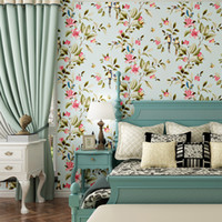 Wholesale small house living for sale - Group buy Pastoral Nonwovens Wallpapers Living Room Background Wallpapers Bedroom Full House Wedding Room Fresh Small Floral Wallpaper