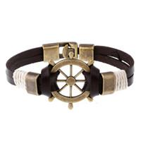 Wholesale Gold Anchor Wrap Bracelet - Wholesale- High Quality Anchors Punk Genuine Wrap Leather Bracelets Men For Women Cuff Jewelry Accessories Wholesale