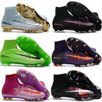 Wholesale Mens Gray Boots - Mens Soccer Shoes womens Football Boots CR7 Mercurial Superfly V FG AG TF Cristiano Ronaldo Magista Obra II kids Socce Cleats ACE