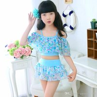 Wholesale Little Hot Kids Swimsuit - 2017 new arrivals hot selling girl kids bikini summer girl little folwers printting Small fresh sling two pieces swimsuit free shipping