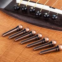Wholesale Silver Acoustic Strings - 6pcs Metal Bridge Pin Folk Acoustic Guitar String Pin Peg Nail Brass Bronze Silver