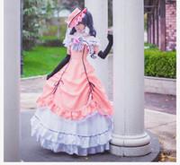 ingrosso costumi cosplay ciel nero cembalo-Costume cosplay di Ciel Phantomhive femminile Black Butler abbigliamento giapponese Anime COS vestiti rosa guanti cappello vestito