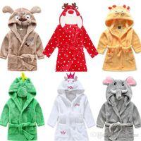 Wholesale Baby Thermal Sleepwear - Kids Animal Bathrobe Toddler Cartoon Pattern Towel Baby Hooded Bath Towel Dinosaur Mouse Deer Bathrobe Pajamas Night Sleepwear Payamas F250