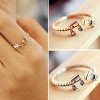 Wholesale Cheap Music Notes - 2016 New Hot Fashion Cheap Good Quality Adjustable Music Note Rhinestone Rings Lovely Open Finger Rings Women