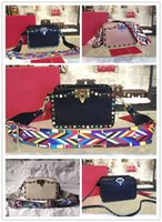Wholesale Cell Phone Nails - 2017 new style black rivet nail fashion luxury leather custom made high-end women shoulder bags brand designer delicate plain small bag