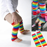 Wholesale Baby Socks Rainbow - Newest Baby Leg Warmers Boy's Girls' Legging Tights Cotton Cute Rainbow Socks Infant Toddler Ruffle Warmers Kids Legwarmers