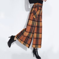 Wholesale Wide Leg Orange - Autumn Winter Fashion Womens Orange Red Coffee Plaid Wide Leg Woolen Capris Pants, England Style Loose Wool Trousers For Woman