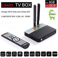 ingrosso mini pc 16gb-Amlogic S912 3GB di RAM 32GB ROM CSA93 Octa core Android 7.1 Smart TV Box Mini PC 4K H.265 Media Player 2.4G / 5G Wifi 1000M LAN