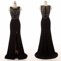 Wholesale Custom Pageant Prom Evening Dresses - Side Split Long Prom Dresses Black Crystal Chiffon Illusion Real Picture Sweep Train Beading Party Pageant Simple Evening Gowns Custom Made