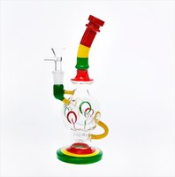 Wholesale Globe Glass Smoke - Coloured Drawing or Pattern Globe Style Glass Bong with Cone Piece 24cmTall 14.4mmJoint Thick Baisc Recycler Bongs Perc Smoking Pipe Hookahs