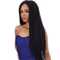 perücke flecht weiß großhandel-Häkeln Sie Zöpfe Flechten Haar schwarz lockige Mode Perücke Haar Dreadlock für schwarze und weiße Frauen Kunsthaar 20-22 Zoll
