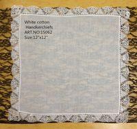 """Wholesale Women Handkerchief Cotton - HomeTextiles High Quality White100%cotton women Wedding Ladies Handkerchief 12PCS lot 12x12""""Elegant Embroidered crochet lace edges For Bride"""