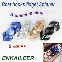 Wholesale Aluminium Boats - TOP Newest Boat hooks fidget Spinner Fingertip Gyro crystal hand Spinner Decompression Anxiety Toy synthetic diamond EDC Aluminium alloy DHL