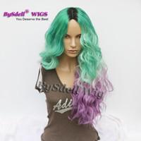 ingrosso pizzi personalizzati-Parrucca di colore sintetico verde Ombre viola viola Ombre parrucca lunga del corpo dell'onda del corpo parrucca / nessuno parrucca in pizzo colorato personalizzato parrucca dipinta