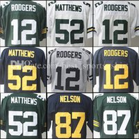 Wholesale Clay Matthews - Top quality 12# Aaron Rodgers new Stitched jerseys 87 Jordy Nelson 52 Clay Matthews men's Elite Embroidery jersey Free Shipping