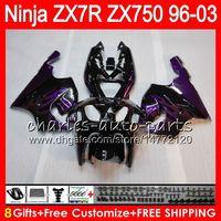 Wholesale 98 Zx7r - 8Gifts 23Colors For KAWASAKI NINJA ZX7R 96 97 98 99 00 01 02 03 18NO52 ZX750 Purple flames ZX 7R ZX-7R 1996 1997 1998 2001 2002 2003 Fairing