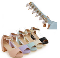 Wholesale Pink Ribbon Animation - Hot Selling fish mouth thick with metal chain buckles Pearl diamond women sandals in good price free shipping