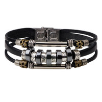 edelstahlperlen großhandel-Neueste Hämatit Perlen Charme Armbänder Armreif Handmade Multilayer Leder Edelstahl Schnalle Armband Manschette Armband für Männer Frauen Schmuck
