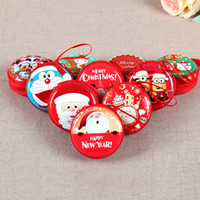Wholesale Mess Coin - Christmas Gifts Tinplate Cartoon Mini Coin Purse Wallet Sundries Mess Kits Purses Headset Charger Bag Storage Box