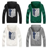 Wholesale New Anime Attack on Titan Cos play Costumes Hoodie Green Black Scouting Legion Hooded Sweater for Unisex