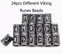 Wholesale Hair Bead Kits - Wholesale- 24pcs Top Silver Norse Viking Runes Charms Beads Findings for Bracelets for Pendant Necklace for Beard or Hair Vikings Rune Kits