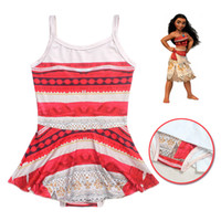 Wholesale Girls Plaid Swimsuits - kids girl swimsuit moana baby girls one-piece bathsuit children beach wear girl's swimwear top quality size from 100-140