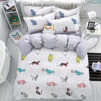 Wholesale Coverlet Kids - 2017 new 4pcs Lovely cat cartoon kids bedding set Queen size Duvet Cover Sets Pillowcase Bed Sheet Kids Bedroom Coverlets
