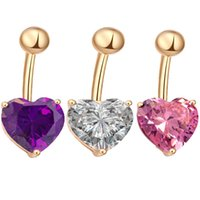 Wholesale Sexy Belly Bars - Fashion Women Pink Purple White Crystal Rhinestone Heart shape Navel Rings Sexy Bar Button Rings Belly Piercing Jewelry
