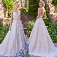 Wholesale Romantic Country - Romantic Blush Lace Tulle Wedding Dresses 2017 Sexy Backless A Line Spaghetti Straps Appliques Beaded Sash Long Western Country Bride Gowns