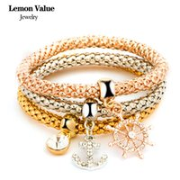 Wholesale Gold Plated Jewelry Value - Wholesale- Lemon Value Punk Gold Plated Chain Multilayer Bangles Vintage Charms Elastic Crystal Anchor Pendant Bracelet Women Jewelry E008
