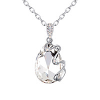Wholesale Genuine Swarovski Jewelry - New luxurious brands jewelry design for women gold color plated tear drop necklace made with genuine Swarovski elements crystal