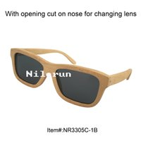 Wholesale Sunglasses Change - unisex men women's bamboo sunglasses with opening cut on nose for changing lens