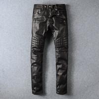 Wholesale Mens Black Classic Straight Jeans - Mens Brand Black Panel Coated Biker Jeans Classic Slim Pants Stretched Slim Fit Jeans Mens Pairs