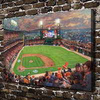 Wholesale HD Printed Thomas Kinkade Oil Painting Home Decoration Wall Art on Canvas San Francisco Giants It Our Time x36inch Unframed