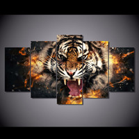 Wholesale Tiger Canvas Art - 5 Pcs set Animal Angry Tiger Wall Paintings Modern Art Printed Canvas Painting Home decor Personalized gift