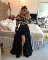 Wholesale Detachable Dress Lace - Black Long Sleeve Prom Dresses with Detachable Train Lace Beading 2017 Fashion Women Formal Evening Gowns Cocktail Party Dresses Sheer Back