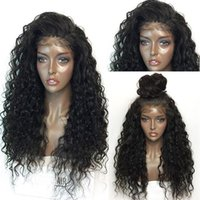 Wholesale Kinky Free Parting Lace Wig - Fashion real picture kinky curly free part synthetic glueless lace front wig baby hair heat resistant
