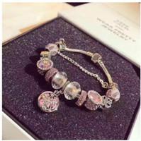 Wholesale European Green Lampwork - Fashion 925 Sterling Silver Pink Star Murano Lampwork Glass & Green Phantom Crystal European Charm Beads Fits Pandora Charm Bracelets