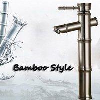bambus wasserhähne großhandel-Großhandel Und Einzelhandel Gebürstetem Nickel Bad Wasserhahn Bambus Stil Sinkle Griff Loch Schiff Sinken Mischer Tap Montiert
