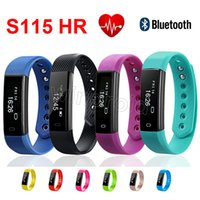 Wholesale Cheap Heart Rate Monitors - Cheap S115 HR 115 HR Sports Smart Band Smartband Bracelet Wristband Heart Rate Monitor Fitnesst Tracker Bluetooth Smartwatch for IOS Android