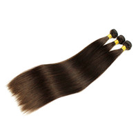 Indian Straight Hair 3 Bundles Extensão de cabelo humano Natural Color 2 4 Dark Brown Colorido Raw Indian Remy Hair Weave Silky Straight