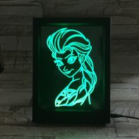 3D Princess LED Photo Frame IR Remote 7 RGB Lights AAA Battery ou DC 5V Factory Wholesale Dropship Frete grátis