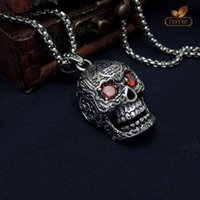 Wholesale Mans Pendent - Wholesale Stainless Steel Face Skull Pendent For Man Old Retro Vintage Punk Necklace Charm Pendant