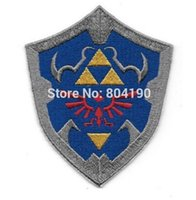 """Wholesale Wholesale Iron Princess Patches - 3.5"""" Legend of Zelda Princess Hylian Shield patch Embroidered Movie TV Series applique iron on badge New Film"""