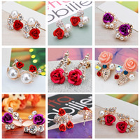 Wholesale Earring Variety - Wholesale - Korean version of the earring women flower earrings roses pearl earrings a variety of styles girl diamond earrings CA190