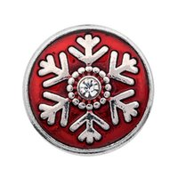 Wholesale Gold Crystal Snowflake Charm - 10PCS alloy red oil crystal snowflake ginger snap button for 18mm button snap metal bracelet &necklace gift