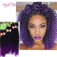Wholesale Hair Extensons - synthetic braiding crochet hair extensions sew in hair extensons 6pcs lot synthet weft hair deep wave,kinky curly ombre brown,purple