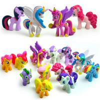 Wholesale Pink Bats - 12 pcs set 3-5cm cute pvc horse action toy figures toy doll Earth ponies Unicorn Pegasus Alicorn Bat ponies Figure Dolls For Gir
